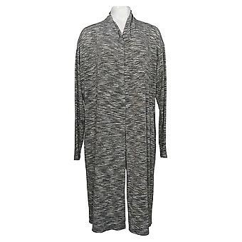 LOGO By Lori Goldstein Women's Sweater Space-Deye Cardigan Gray A385063