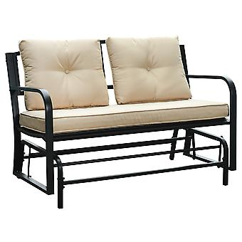 Outsunny 2-Person Outdoor Loveseat Glider Bench Rocking Chair for Patio, Garden, Yard, Porch with Armrest and Cushions, Khaki