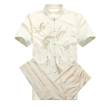 Men Cotton Kung Fu Suit Embroidery  Uniform And Tai Chi Clothing Short Sleeve