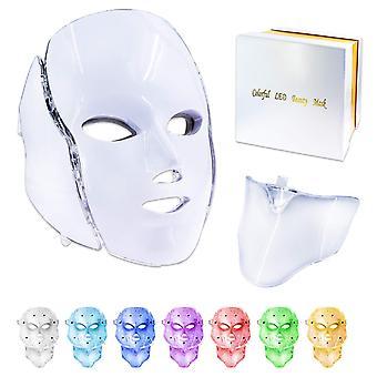 Beauty stroj 7 farieb svetlo viedol tvár maska s krkom kože omladenie ošetrenie tváre ošetrenie krása anti akné terapia bielenie