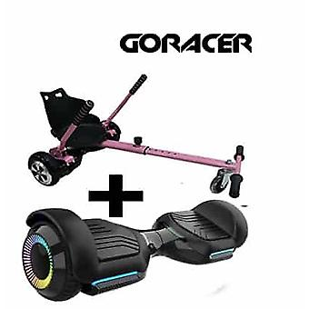 NEW - G PRO Black Segway with LED Wheels with a FREE Racer Hoverkart Bundle Choose your Colour (Choose Colour of Racer Hoverkart: Pink)