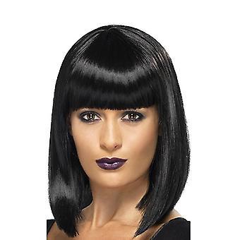 Women's short straight hair temperament face trimming wig black