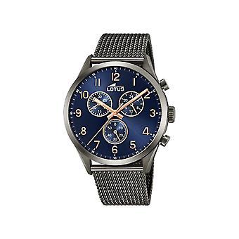 Mænds ure Lotus ure L18650-A - Sort stål armbånd