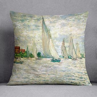 Sailboats regatta in argenteuil by monet cushion