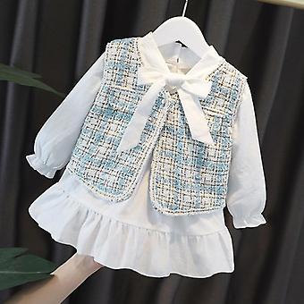 婴儿服装套装,格子蕾丝连衣裙与背心