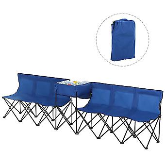 Outsunny 6 Seat Folding Sports Bench Portable Sports Team Bench Spectator Chair with Cooler Bag and Carrying Bag for Outdoor Picnic Camping - Blue