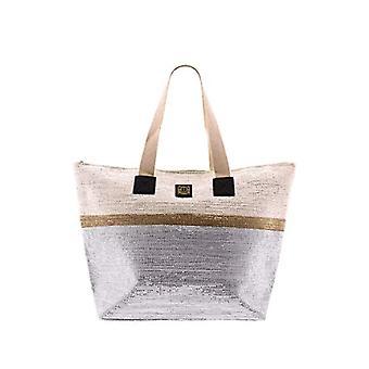 For Time Bolso de playa con destellos met licos - Women's Beach Bags, Silver (Plata), 1x36x52 cm (W x H L)