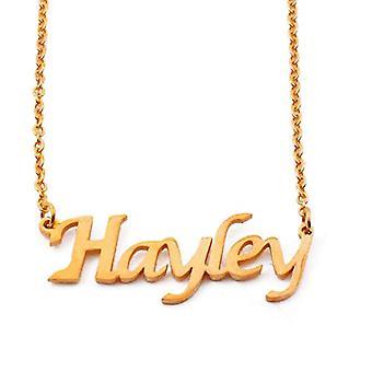 KL Hayley - 18 karan kullattu kaulakoru, custom nimi, säädettävä pituus 16-19 cm
