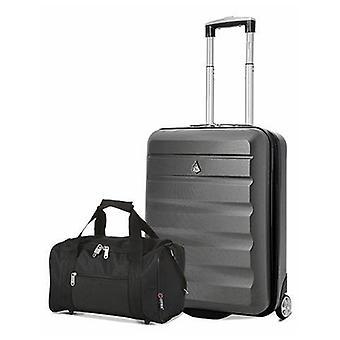 Aerolite (55x40x20cm) bagage à main léger de cabine à coque dure et 5 villes (35x20x20cm) holdall noir