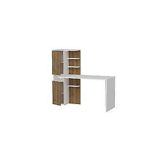 Bureau Lotus White Color, Walnut, In Melamine Spaanplaat, Metalen Bibliotheek: L60xP31.5xA135 cm, Bureau: L120xP60xA73.8 cm