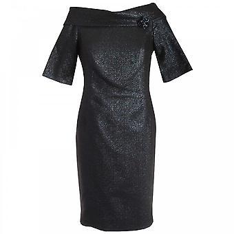 Paola Collection Navy 3/4 Sleeve Shawl Collar Shift Dress
