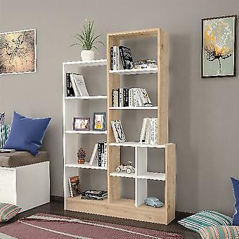 Libreria Monde, Colore Rovere, Bianco in Truciolare Melaminico, L102,2xP22xA160,8 cm