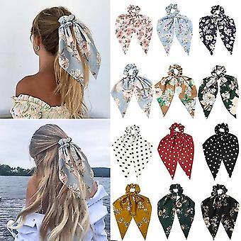 Elegant Ladies Hair Scrunchies Women Bohemian Floral Printed Ribbon Bow Hair Ropes Elastic Hair Band
