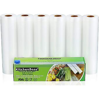 Vakuumrollen mit Cutter-Box, 6 Rollen 20x500cm Folienrollen BPA-Frei für alle Vakuumierer, stark