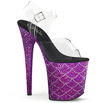 Pleaser Zapatos para Mujer'S FLAMINGO-808MSLG Clr/Purple Multi Glitter