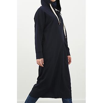 Zipper Front Hooded Long Cardigan