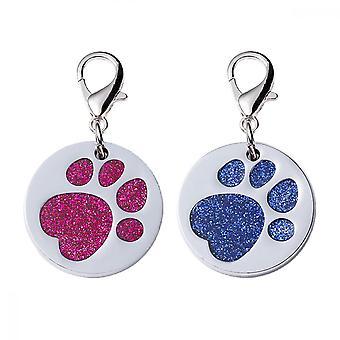Dog Tag, 2 Pcs Metal Glitter Paw Print Pet Id (rosa, azul)