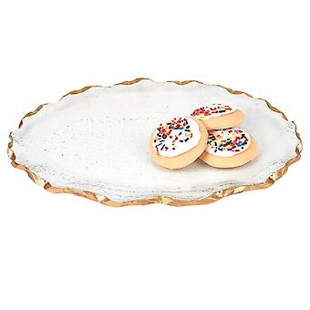 Bubble Glass Scalloped Gold Rim Round Platter or Tray