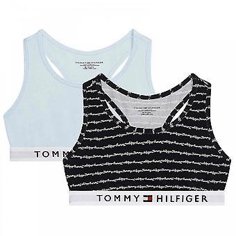 Tommy Hilfiger Girls 2 Pack Original Cotton Bralette, Klu/Cursive/Aop/Luminous Bluey, Age 10-12