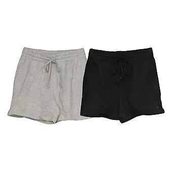 Danskin Women's Shorts Set Of 2 Ladies' Soft Active Gym Pull On Black