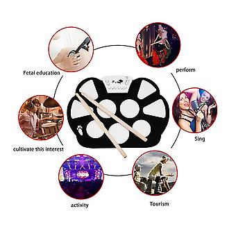 W758s Portable 9 Pads Digital Usb Roll Up Silicone Electronic Drum Pad Kit