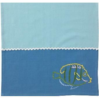 Costeira nadar com os peixes bordada algodão toalha de prato de cozinha
