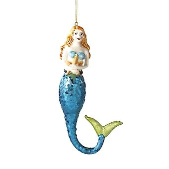 Coastal Blonde Mermaid with Starfish Christmas Holiday Ornament