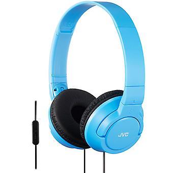 JVC Supra-Aural krachtige Bass hoofdtelefoon met externe microfoon voor iPhone blauw HASR185AN