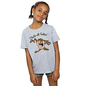Looney Tunes Girls Taz That's All Folks T-Shirt