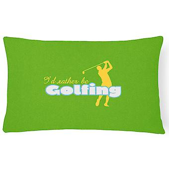 I'd rather be Golfing Man on Green   Canvas Fabric Decorative Pillow