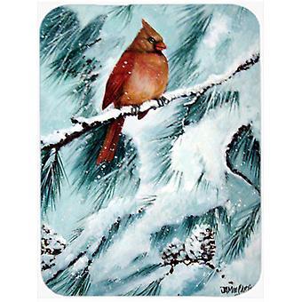 Winter's Glory Redbird 2 Northern Cardinal Glass Cutting Board Large
