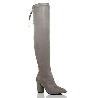 Ajvani damskie bloku wysokiej pięty koronki stretch się jazda na buty kolanowe