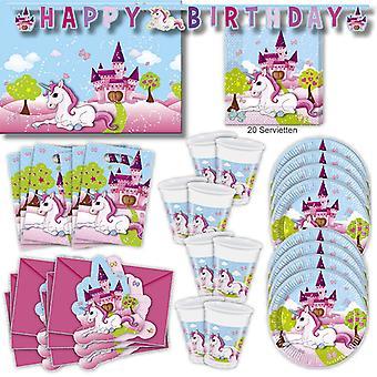Festa de unicórnio unicórnio conjunto XL 57-teilig para os hóspedes unicórnio festa aniversário decoração festa pacote 6
