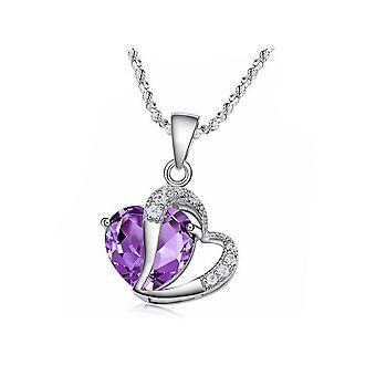 Womens purpurrotes Herz Krone Anhänger Halskette