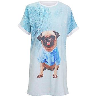 Christmas Womens/Ladies Loose Fit Knee Length Charming Pug Night Dress