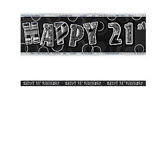 Bannière anniversaire Glitz noir & Silver 21e anniversaire prisme