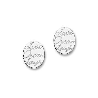 Sterling Silver Traditional Contemporary Modern Script Design Pair of Earrings - E1466