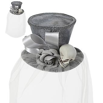Minihut Gothic Grau Blumen