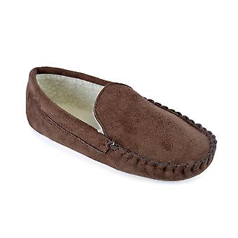 SlumberzzZ Mens Faux Suede Fleece Lined Moccasin Slippers