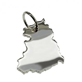Trailer map DDR pendant in solid 925 Silver