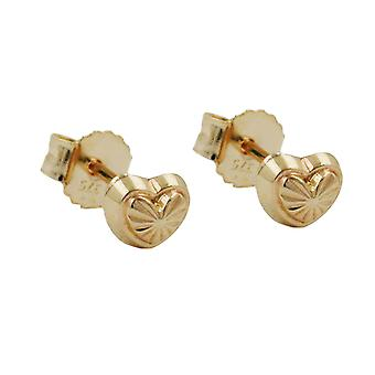 Heart Earrings studs earring heart with pattern heart Stud Earrings 9 KT gold 375