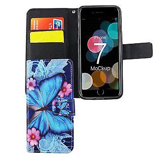 Etui na telefon komórkowy, kieszeń na telefon Apple iPhone 7 niebieski motyl
