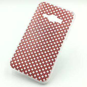 Cas de téléphone portable pour Samsung Galaxy J1 2016 polka dot rouge pochette Case + 1 x réservoir verre de protection