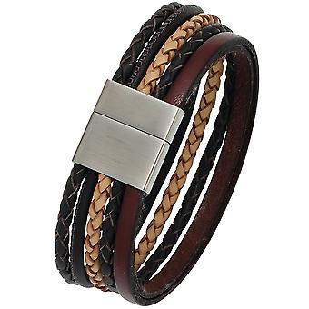 Bracelete de couro unisex multicolor fosco aço inoxidável pulseira de couro de 20 cm largura
