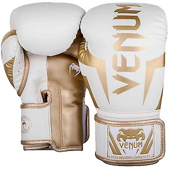 Venum Elite Skintex Leather Hook and Loop Training Boxing Gloves - White/Gold