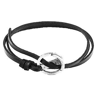 Anchor and Crew Ketch Anchor Flat Leather Bracelet - Coal Black/Silver
