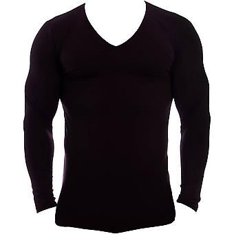 Obviously Essence Deep V-Neck Long Sleeve Undershirt - Black