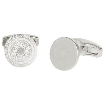 Simon Carter Laser Engraved Button Cufflinks - Brushed Silver