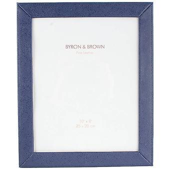 Byron und braun Florenz schlankes klassische Leder Fotorahmen 10 x 8 - blau
