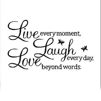 TRIXES Live Laugh Love svart vägg dekal klistermärke hem dekoration Vinyl